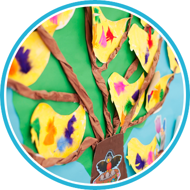 kids' artwork - a tree with birds