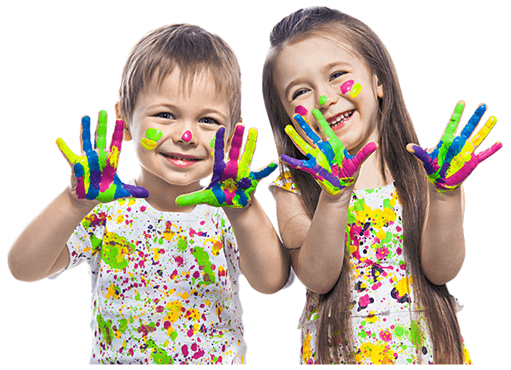 smiling kids with colorful paint on their hands, faces, and white clothing
