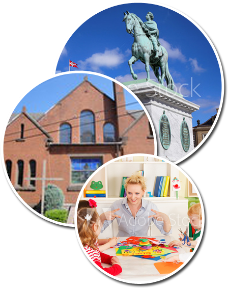 three round photos: man on a horse statue, school exterior, teacher engaging kids in the classroom